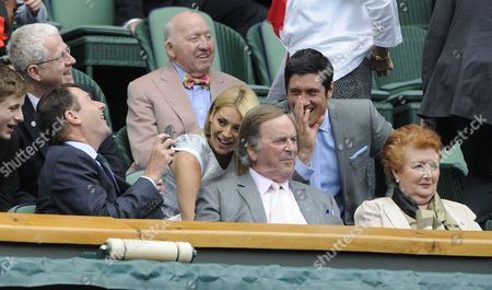 Wimbledon Tennis Championships 2013 Day Eight - Agnieszka Radwanska V Na Li - Pic Shows:- Sir Terry Wogan And Lady Helen In Royal Box And Tess Daley With Vernon Kay And Phillip Brook Pretending To Open Or Close The Roof.