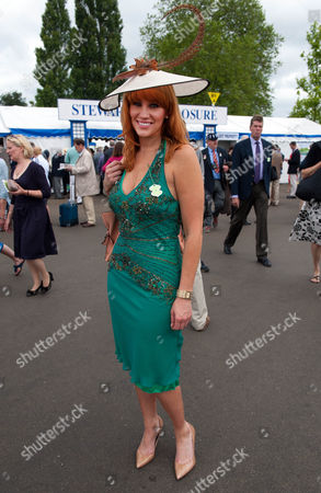 Editorial picture of Henley Royal Regatta 2013 Thursday 4th July. Julie Robinson From London Was Refused Entry To The Stewards Enclosure For Having A Dress Riding Above The Knee. A Local Ladies Wear Shop In Henley Provided A More Suitable Dress For Ii115 Shown Here And S
