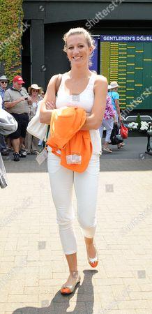 Editorial photo of Jerzy Janowicz's Girlfriend Marta Domachowska - Wimbledon Tennis Championships 2013 Day Eleven - Men's Singles Semi-final - Andy Murray V Jerzy Janowicz.