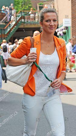 Stock Image of Jerzy Janowicz's Girlfriend Marta Domachowska - Wimbledon Tennis Championships 2013 Day Eleven - Men's Singles Semi-final - Andy Murray V Jerzy Janowicz.
