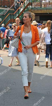 Editorial image of Jerzy Janowicz's Girlfriend Marta Domachowska - Wimbledon Tennis Championships 2013 Day Eleven - Men's Singles Semi-final - Andy Murray V Jerzy Janowicz.