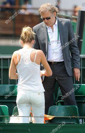 Jerzy Janowicz's Girlfriend Marta Domachowska With Jerzy's Father - Wimbledon Tennis Championships 2013 Day Eleven - Men's Singles Semi-final - Andy Murray V Jerzy Janowicz.