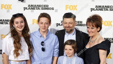 Andy Serkis with wife Lorraine Ashbourne and sons, Ruby, Sonny and Louis