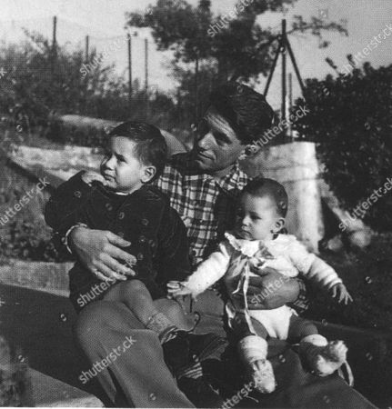 Stock Image of MARINA PICASSO AS A CHILD WITH HER FATHER PAULO AND BROTHER PABLITO