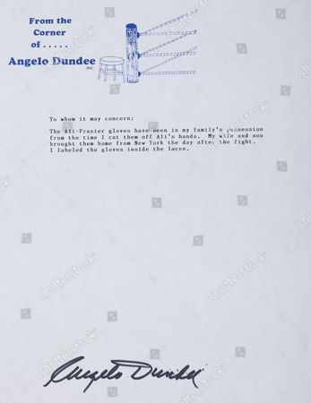 Letter of autenticity signed by Muhammad Ali's trainer Angelo Dundee
