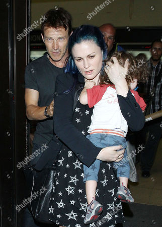 Editorial image of Anna Paquin and Stephen Moyer at LAX airport, Los Angeles, America - 17 Jul 2014