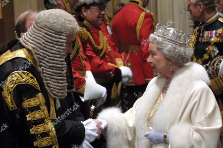 Queen Elizabeth II shaking hands with the Lord Chancellor, Lord Irvine