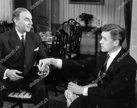 Stock Photo of RALPH RICHARDSON AND PAUL SCOFIELD IN THE PLAY 'THE COMPLAISANT LOVER' AT THE GLOBE THEATRE