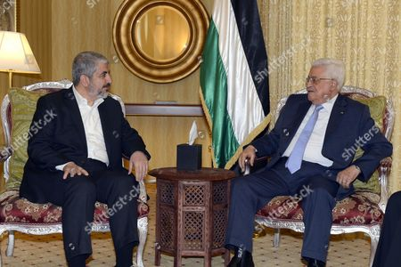 Editorial image of Palestinian President Mahmud Abbas meeting with the head of the political bureau of Hamas, Doha, Qatar - 21 Jul 2014