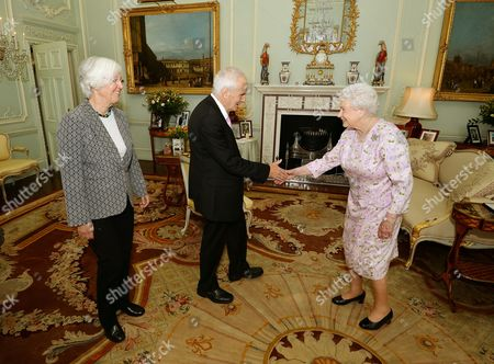 Composer Judith Weir (left), the new Master of the Queen's Music and Sir Peter Maxwell Davies, previous Master of the Queen's Music, during a private audience with Queen Elizabeth II