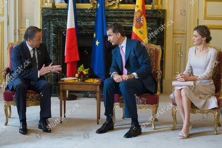 Stock Image of King Felipe VI of Spain and Queen Letizia meet President of the French Senate Jean-Pierre Bel at the Palais du Petit Luxembourg