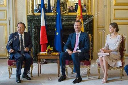 Stock Picture of King Felipe VI of Spain and Queen Letizia meet President of the French Senate Jean-Pierre Bel at the Palais du Petit Luxembourg
