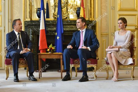 King Felipe VI of Spain and Queen Letizia meet President of the French Senate Jean-Pierre Bel at the Palais du Petit Luxembourg