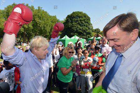 Boris Johnson and Mayor of Newham Sir Sir Robin Andrew Wales