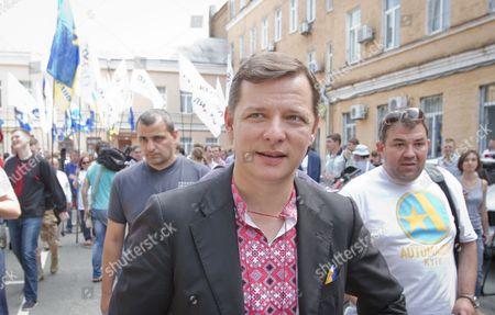 MP Oleg Lyashko outside Kiev county administrative court