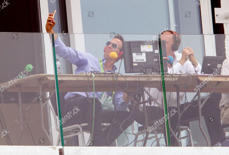 Michael Vaughan (L) takes a selfie with Jonathan Agnew in the Test Match Special commentary box  England v India - 3rd Test - Day 1 - 27/07/2014 - The Rose Bowl - Southampton - UK Mandatory Credit Andrew Fosker / Seconds Left / Rex