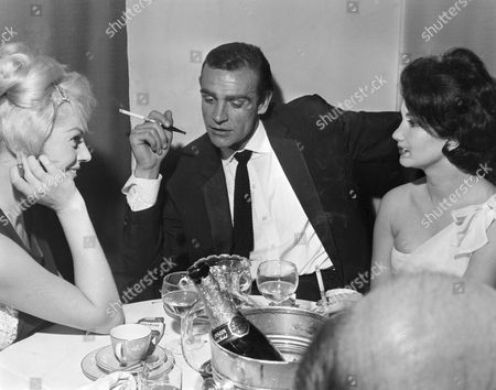 Anita Ekberg, Sean Connery and Zena Marshall at 'Dr No' film screening after party