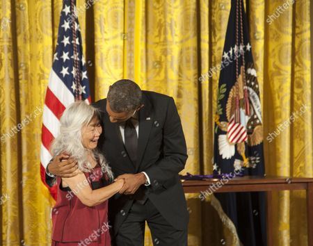 Maxine stock pictures editorial images and stock photos shutterstock barack obama shares a laugh with maxine hong kingston after she receives her medal of art m4hsunfo