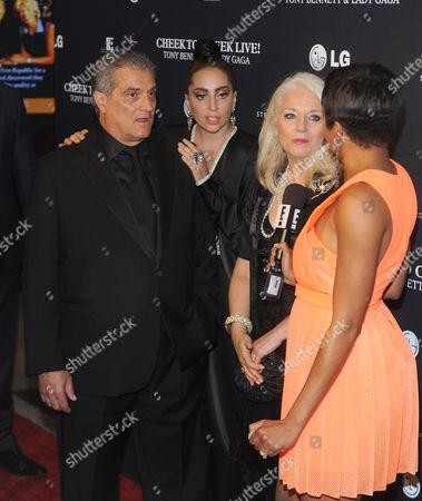 Joe Germanotta, Lady Gaga, Cynthia Germanotta and guest