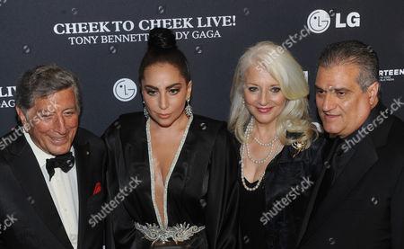 Stock Picture of Tony Bennett, Lady Gaga, Cynthia Germanotta and Joe Germanotta