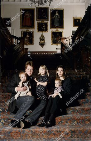 Earl Spencer (9th Earl) With His Wife Victoria Lockwood And Children Kitty 3 And Twins Katya And Eliza.