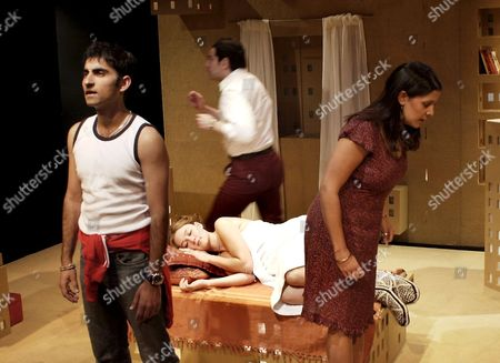 L-R: Akbar Kurtha as 'Kalil' (front), Anna Hope as 'Franciska' (on bed), Mark Benson as 'Karpati' (running) and Stephanie Street as 'Fatima' (front)