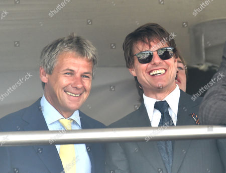 Charlie Gordon-Watson and Tom Cruise watching racing
