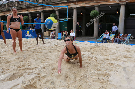 Editorial picture of GB Beach Volleyball Stars host pop up beach volleyball court in Covent Garden, London, Britain - 30 Jul 2014