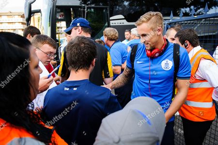 Jack Collison of QPR signs autographs for fans
