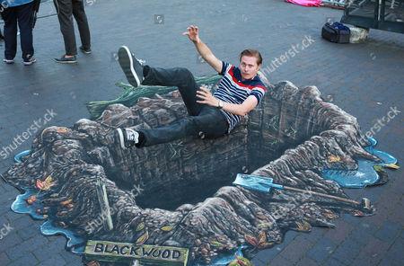 Editorial image of 'Blackwood' film 3D street art promotional event, West India Quay, London, Britain - 30 Jul 2014