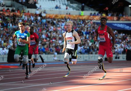 (l-r) Alan Oliveira Britain's Jonnie Peacock And Richard Brownie Race The Mens T43/44 100m Final. Para Challenge At The Olympic Stadium Sainsbury's Anniversary Games London Olympic Stadium London  UK  28/07/2013 London 2013.