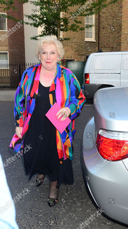 Denise Robertson. Guests From The World Of Itv Arrive At 6 Chepstow Villas London W11. Itv S. Ummer Reception Held By Peter Fincham Director Of Television. 17 July 2013.