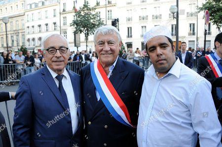 Israel Ambassador in France Yossi Gal, Paris 16th district Mayor Claude Goasguen and Imam Rachid Birbach