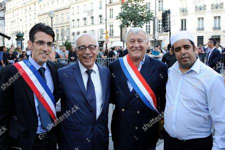 Jeremy Redler (left), Israel Ambassador in France Yossi Gal, Paris 16th district Mayor Claude Goasguen and Imam Rachid Birbach