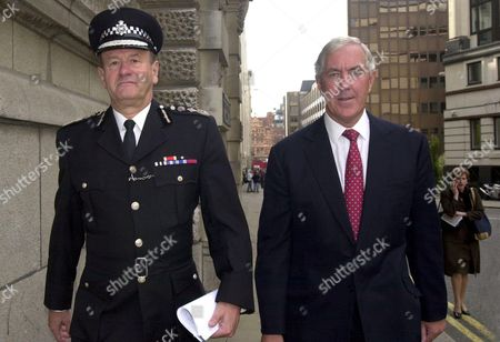 (R-L) FORMER CHIEF OF THE METROPOLITAN POLICE LORD CONDON AND CURRENT HEAD SIR JOHN STEVENS