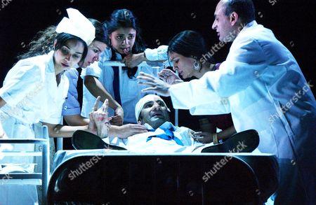 Stock Image of L-R: Tania Rodrigues, Sirine Saba, Anjali Jay, Zubin Varla (on bed), Meneka Das, Kish Sharma