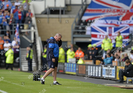 Ally McCoist manager of Rangers is dejected