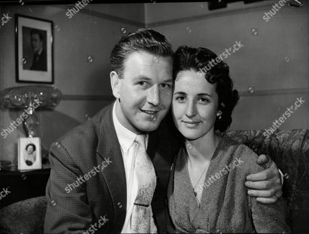 Angela Barry Singer And Member Of The Barry Sisters Singing Group- Seen With Her Fiance Ross Bowie A Theatrical Agent.