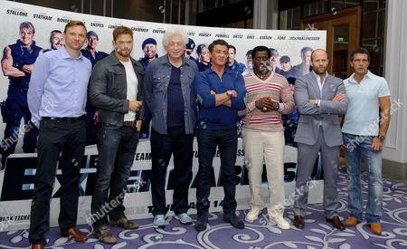 Zygi Kamasa, Kellan Lutz, Avi Lerner, Sylvester Stallone, Wesley Snipes, Jason Statham and Antonio Banderas
