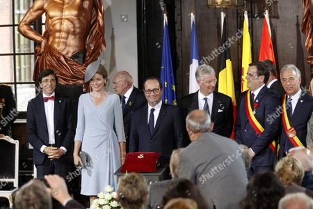 Elio Di Rupo, King Philippe and Queen Mathilde, Francois Hollande, Willy Demeyer