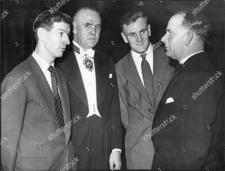 Editorial photo of Harry Sharp Lord Mayor Of Manchester With Footballers Roy Clarke And Don Revie And Cricketer Cyril Washbrook. (for Full Caption See Version).