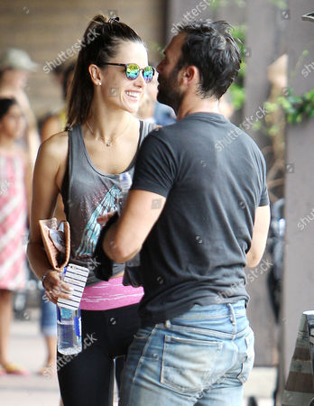 Editorial photo of Alessandra Ambrosio, and Jaime Mazur leaving SoulCycle in Brentwood, Los Angeles, America - 03 Aug 2014