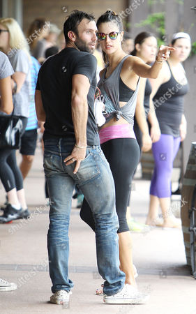 Editorial picture of Alessandra Ambrosio, and Jaime Mazur leaving SoulCycle in Brentwood, Los Angeles, America - 03 Aug 2014