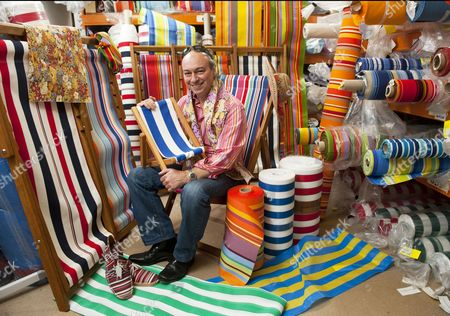 Stock Image of Stephen Davies with some of his Southsea Deckchairs