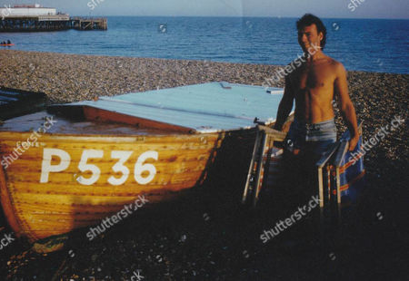 Stock Picture of Stephen Davies as a deckchair attendant on Southsea beach in 1983
