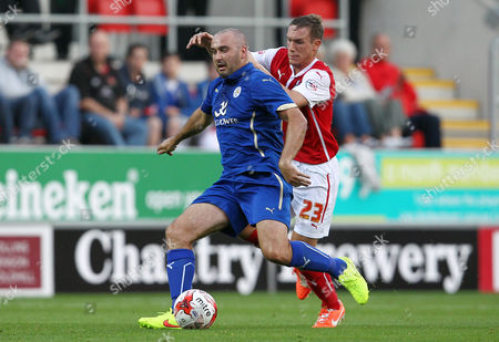 Gary Taylor-Fletcher of Leicester City and Michael Tidser of Rotherham United