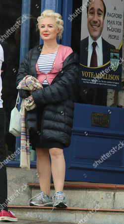 Editorial photo of 'A Casual Vacancy' BBC TV series on set filming, Northleach, Gloucestershire, Britain - 05 Aug 2014
