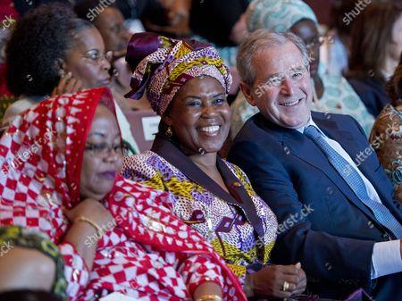 First lady Hadidja Abubakar Ikililou Dhoinine of Comoros; first lady Constancia Mangue De Obiang of Equatorial Guinea; former President George W. Bush