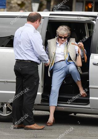 Julia McKenzie arriving on set who plays (Shirley Mollison)