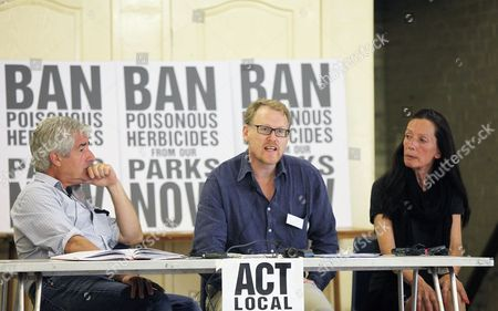 Fashion designer Katherine Hamnett as she chairs a public meeting to 'Ban Poisonous Pesticides from our Parks' listens to Green activists Keith Tyrell of PAN UK, middle, and Tony Juniper in London's Hackney